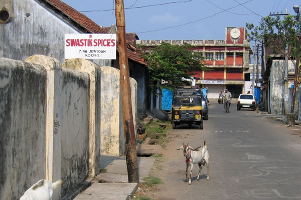 Send picture of Quiet Indian street, a goat and a sign from India as a free postcard