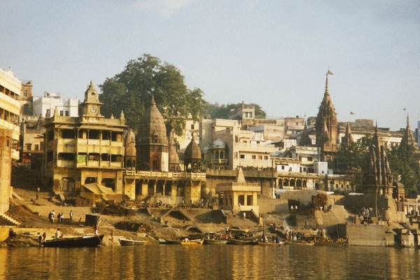 Send picture of Buildings by River Ganga in Varanasi from India as a free postcard
