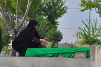 Foto di Woman tending a grave at The Rose Garden of Martyrs - Iran