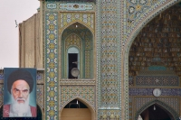 Picture of Hazrat e Mazumeh mosque in Qom and a picture of Khomeini - Iran