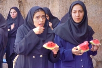 Picture of Young women from Shiraz eating watermelon - Iran