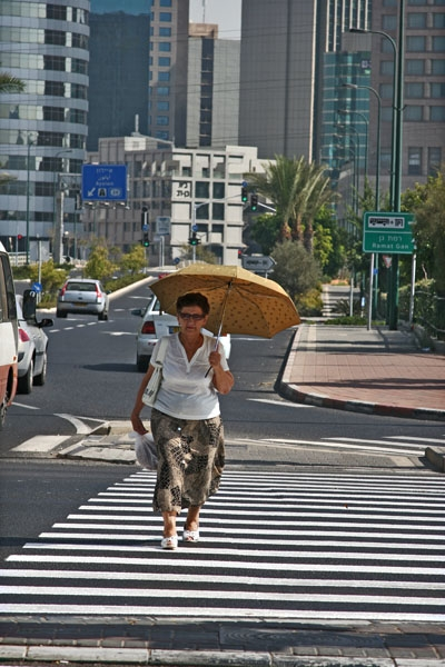 Send picture of Woman with parasol in Tel Aviv from Israel as a free postcard