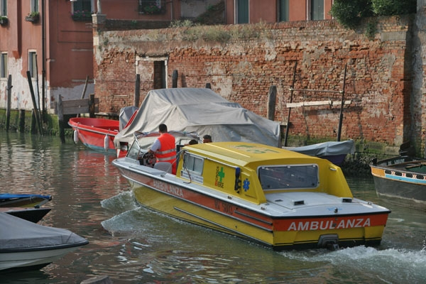 Send picture of A Venetian ambulance from Italy as a free postcard