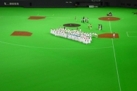 Picture of Baseball team lining up in Sapporo Dome - Japan