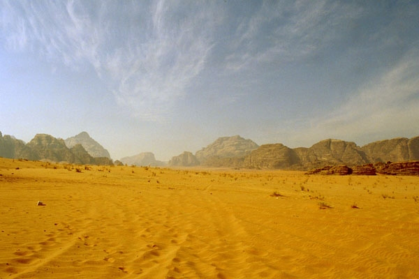 Desert road in Wadi Rum
