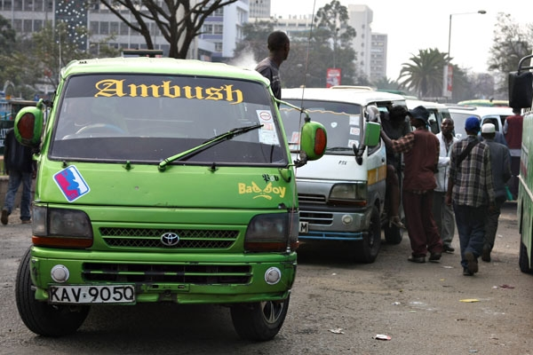 Send picture of Matatus in Nairobi from Kenya as a free postcard