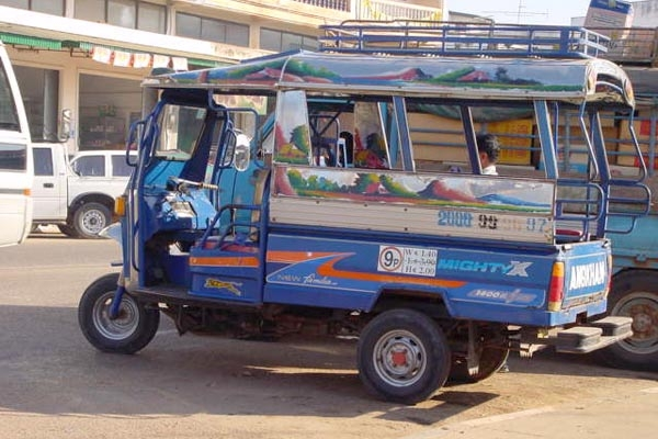 Three-wheeled taxi in Laos