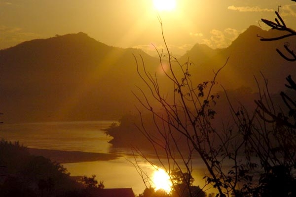 Sunset over Mekong River near Luang Prabang in the north