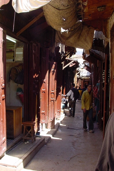 Send picture of A street in the souk of old Fés from Morocco as a free postcard
