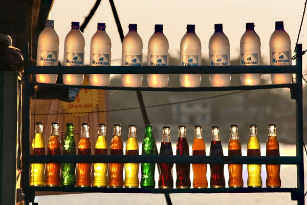 Send picture of Display of soft drinks in Pathein from Myanmar (Burma) as a free postcard