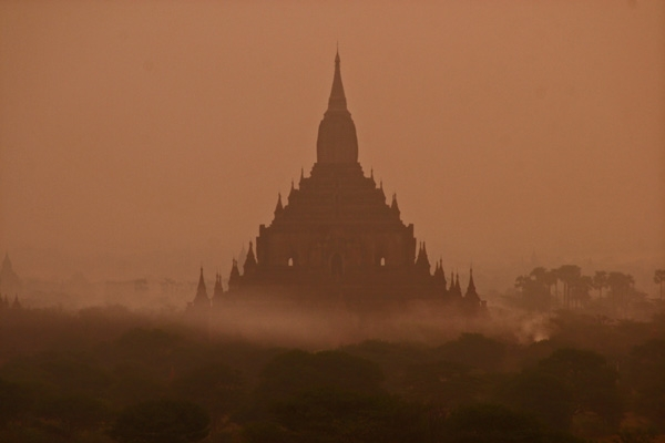 Bagan temple in the early morning mist
