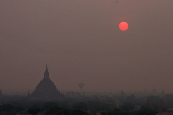 Send picture of Bagan in the early morning from Myanmar (Burma) as a free postcard