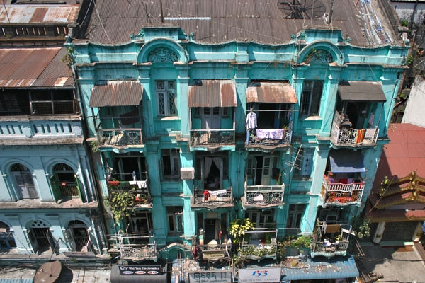 Send picture of A Yangon apartment building from Myanmar (Burma) as a free postcard