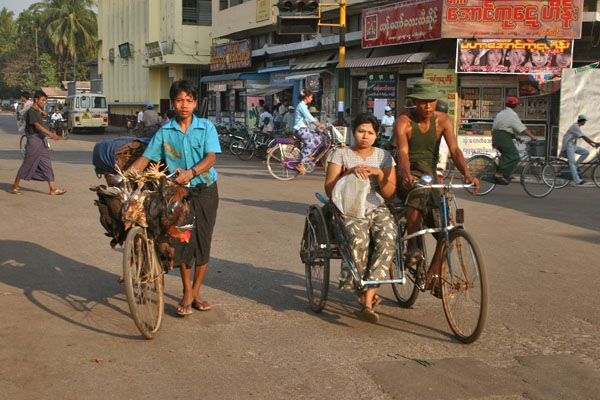 Send picture of Traffic in Pathein from Myanmar (Burma) as a free postcard