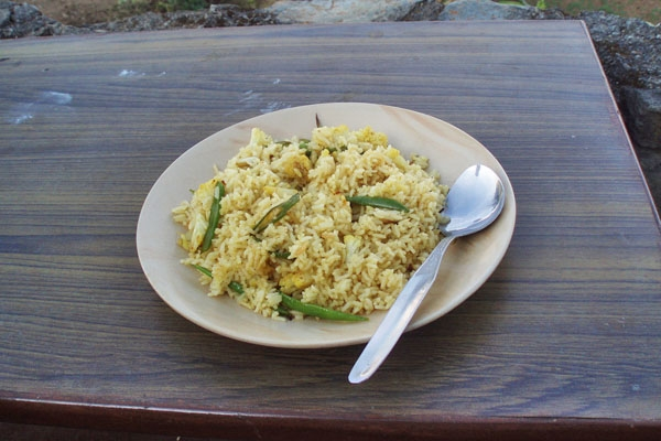 Send picture of Dish with rice and vegetables from Nepal as a free postcard
