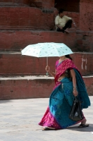 Picture of Woman with parasol in Kathmandu - Nepal