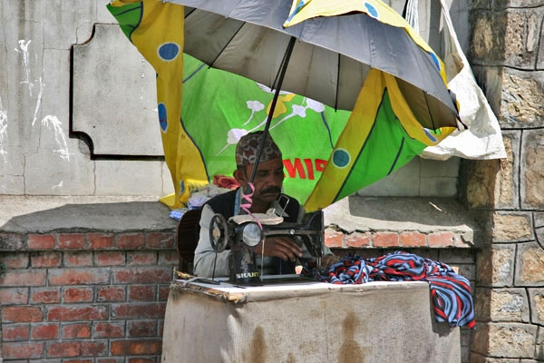Send picture of Street tailor in Kathmandu from Nepal as a free postcard