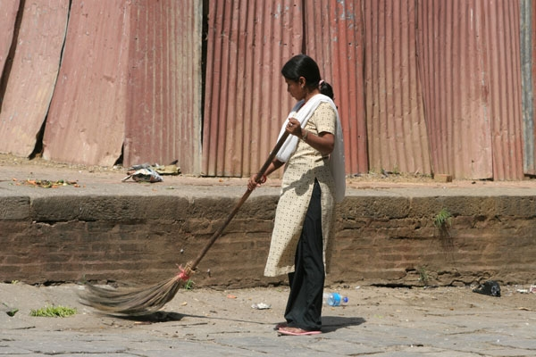 Send picture of Street sweeper in Kathmandu from Nepal as a free postcard