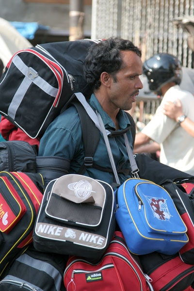 Send picture of Man selling bags in Kathmandu from Nepal as a free postcard