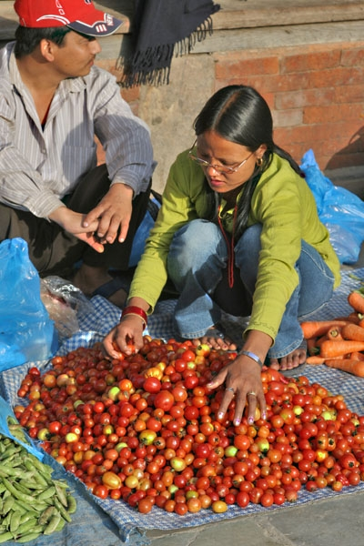 Send picture of Vegetable vendor in Kathmandu from Nepal as a free postcard