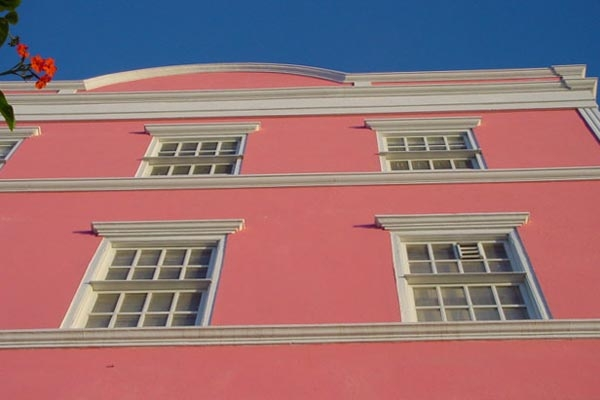 Pink house facade in Curacao