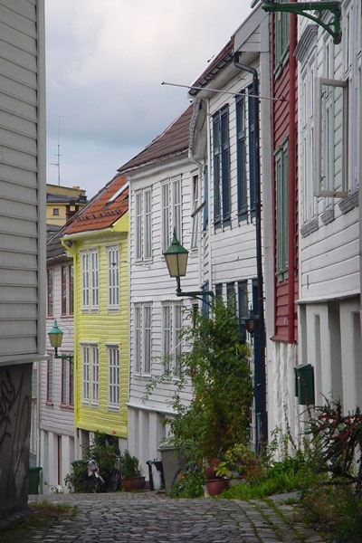 Send picture of Small street in Bergen from Norway as a free postcard