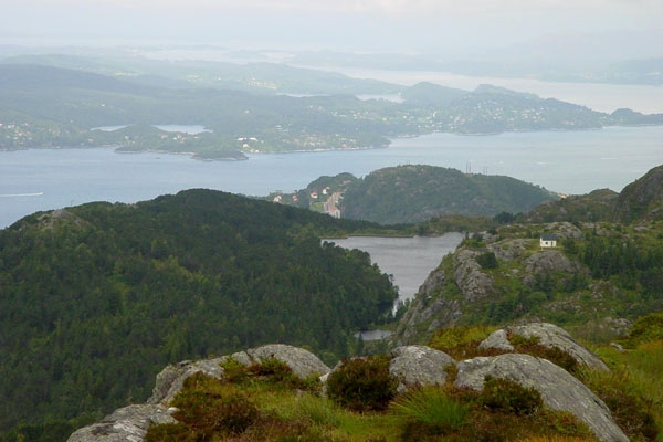Send picture of View over Bergen and surrounding nature from Norway as a free postcard