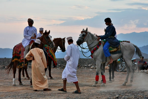 Send picture of Omani men and horses in Al Hamra from Oman as a free postcard