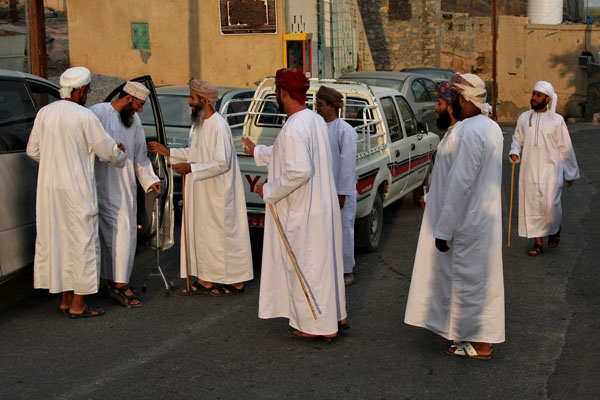 Send picture of Men meeting for celebrating Eid in MIsfat from Oman as a free postcard