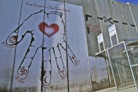 Foto van Wall painting by checkpoint in Bethlehem - Palestinian Territories