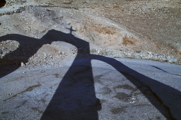 Send picture of Shadow of the gate to St. George Monastery in Jericho from Palestinian Territories as a free postcard