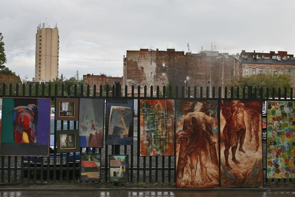 Send picture of Street gallery in Praga neighborhood in Warsaw from Poland as a free postcard