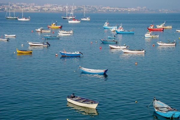 Send picture of Boats in River Tejo from Portugal as a free postcard