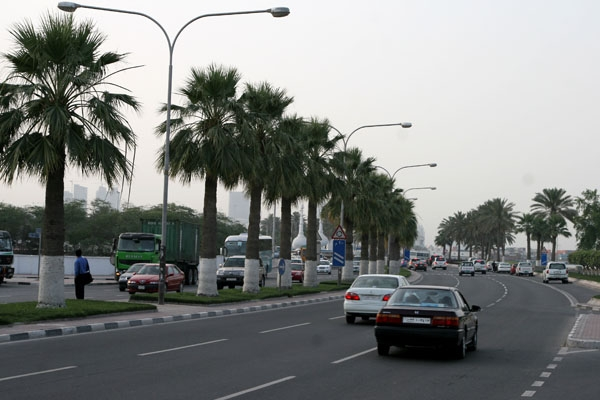 Send picture of A road in Doha from Qatar as a free postcard