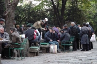 Picture of Men meeting to play games in the street - Romania