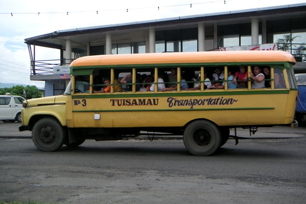 Send picture of Samoan bus from Samoa as a free postcard