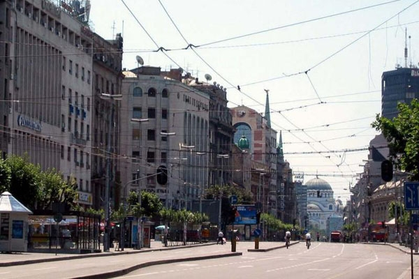 Send picture of Terazije street in Belgrade from Serbia as a free postcard