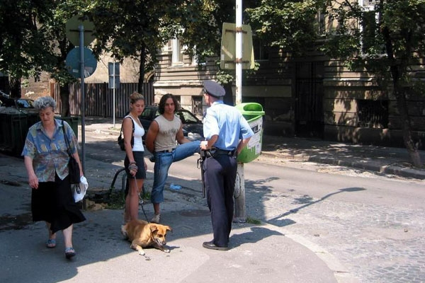 Send picture of Scene from a small street in central Belgrade from Serbia as a free postcard