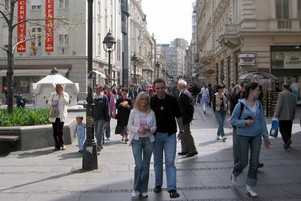 Send picture of People at Kneza Mihaila street from Serbia as a free postcard