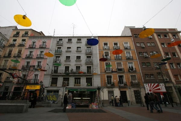 Colorful street lights in Madrid