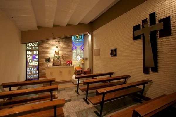 Send picture of The small chapel inside Camp Nou stadium in Barcelona from Spain as a free postcard