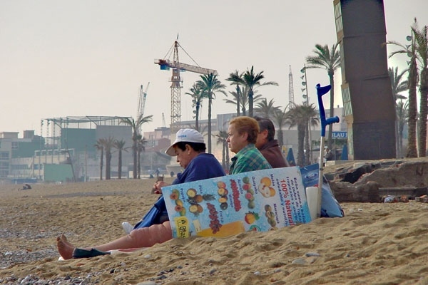 Send picture of Women by the beach in Barcelona from Spain as a free postcard