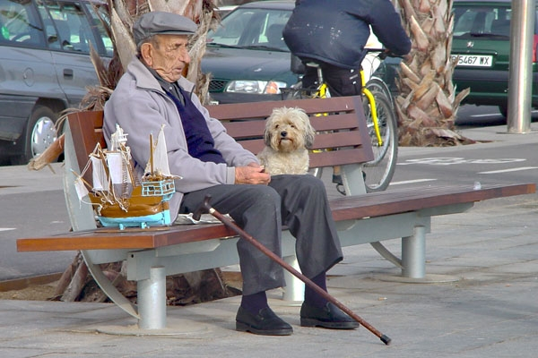Send picture of Man and dog on a bench in Barcelona from Spain as a free postcard