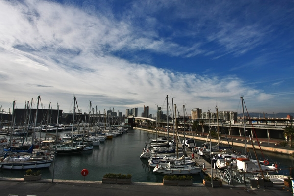 Send picture of Harbor in Diagonal Mar in Barcelona from Spain as a free postcard