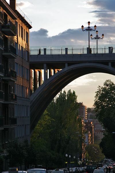 Send picture of Bridge in Madrid at sunset from Spain as a free postcard