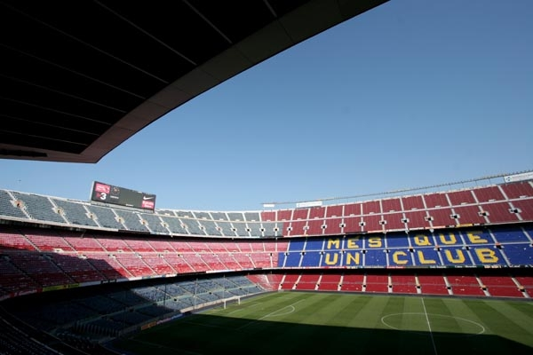 Send picture of View over seats at Camp Nou stadium from Spain as a free postcard