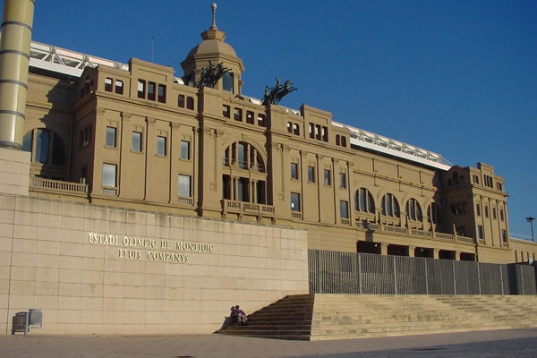Send picture of Olympic stadium in Montjuic, Barcelona from Spain as a free postcard
