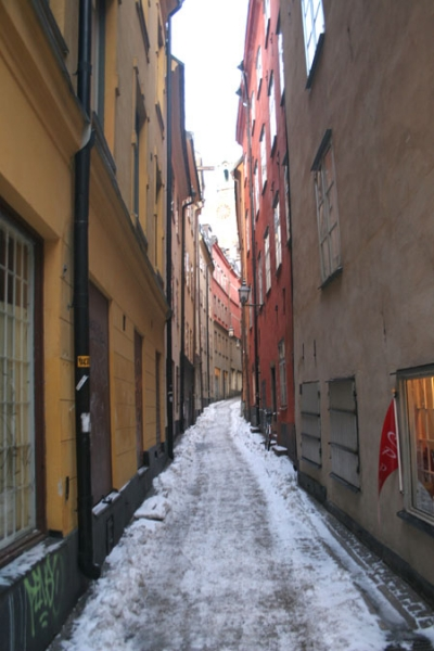 Send picture of Narrow street in Stockholm from Sweden as a free postcard