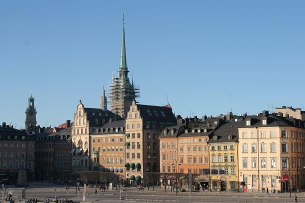 Send picture of View over houses and street in Stockholm  from Sweden as a free postcard