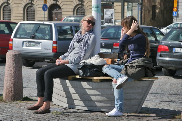  Young women talking in Stockholm